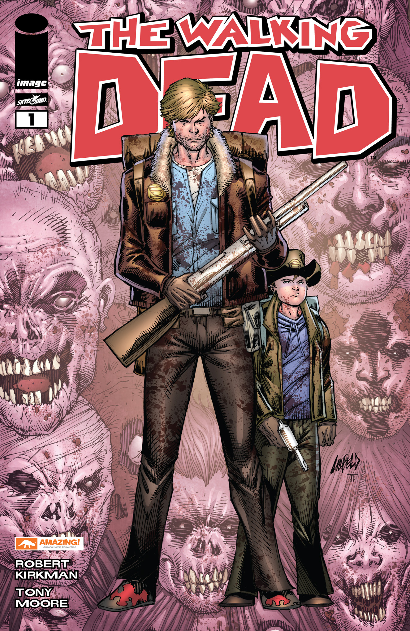 Signed amazing walking dead #1 Liefeld Variant