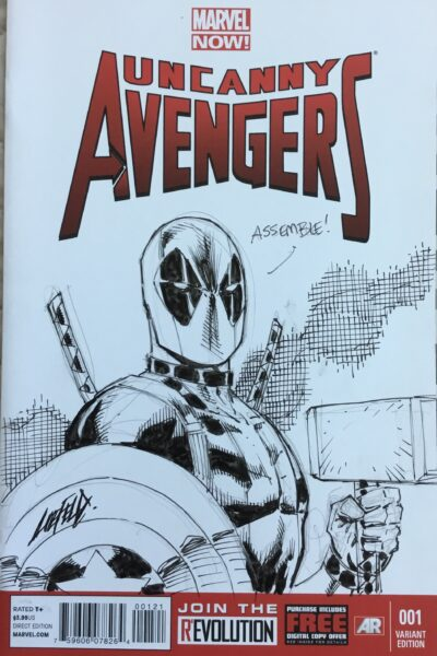 Avengers Rob Liefeld Deadpool sketch cover!