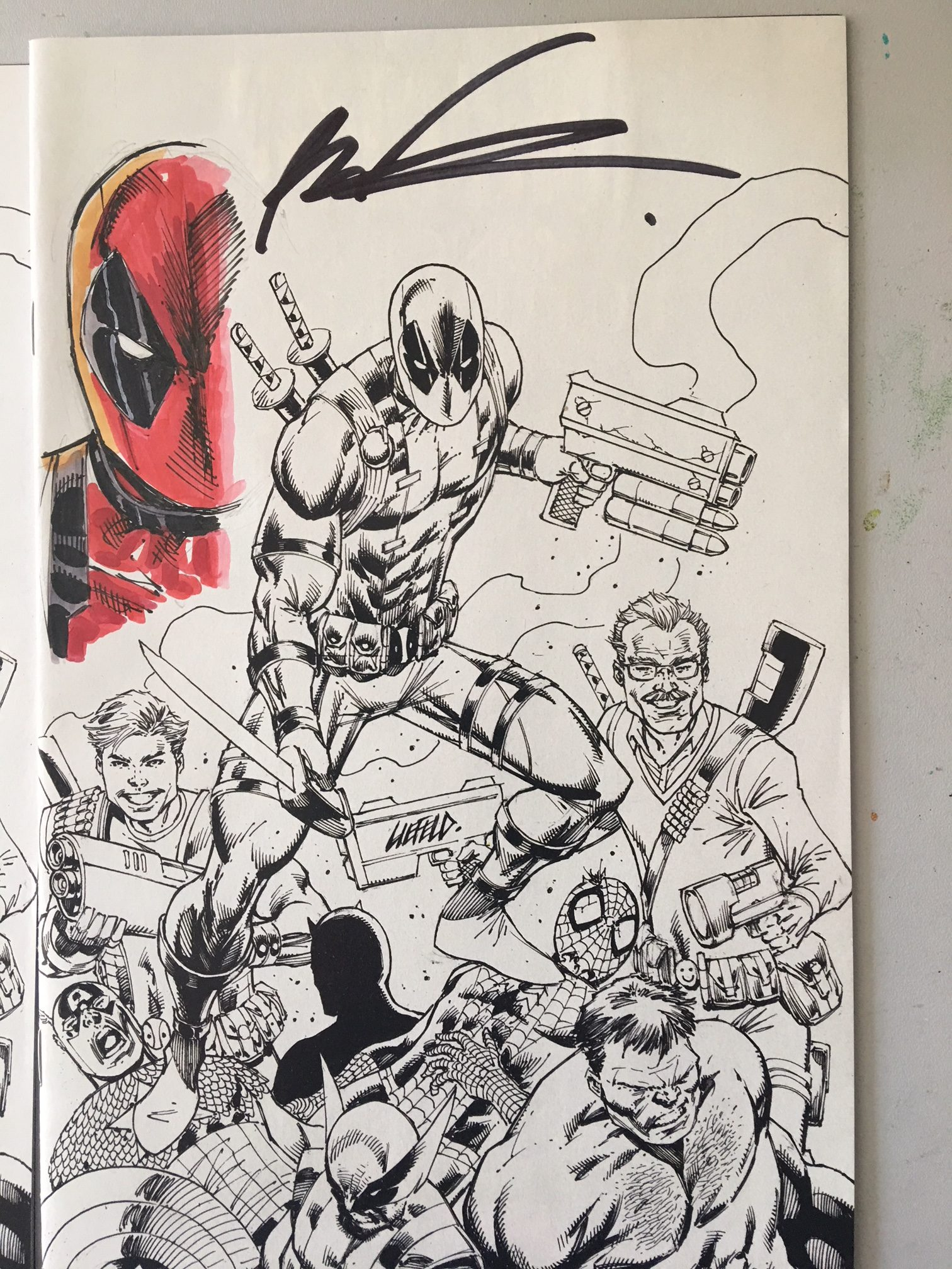 Deadpool Kills The Marvel Universe Again #1 -Original Liefeld Remarque's.