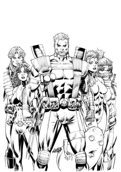 Original ink comic book art drawing of Cable New Mutants