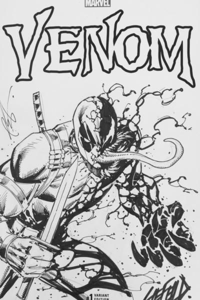 Deadpool Venom Sketch by Rob Liefeld