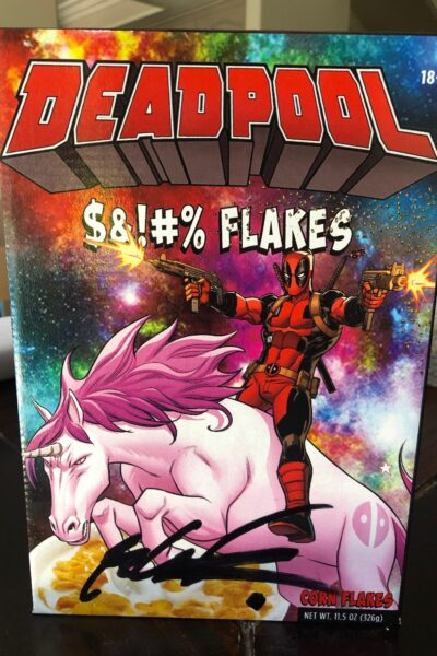 Deadpool Cereal box signed by Rob Liefeld