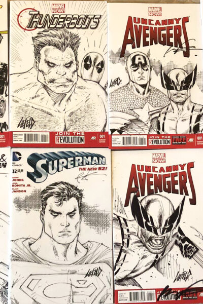 8 examples of London Film and Comic Con Sketch Covers
