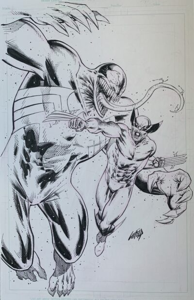venon vs wolverine original art board