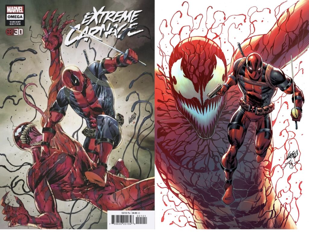 two covers from ultimate carnage 2 pack by Rob Liefeld